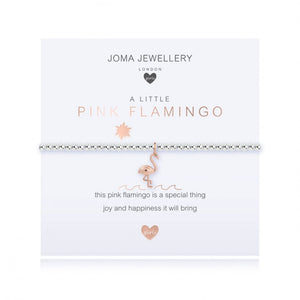 ***For Children***   Joma Jewellery Girls 'a little' Pink flamingo bracelet with a dainty little flamingo charm, presented on a sentiment card which reads:  'this pink flamingo is a special thing, joy and happiness it will bring'