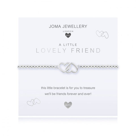 ***For Children***  Joma Jewellery Girls 'a little' Lovely friend bracelet with dainty little entwined hearts charm, presented on a sentiment card which reads:  'this little bracelet is for you to treasure we'll be friends forever and ever'
