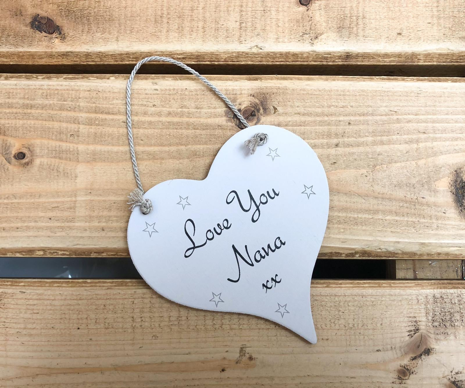Hand Painted Hanging Wooden Heart - Nana