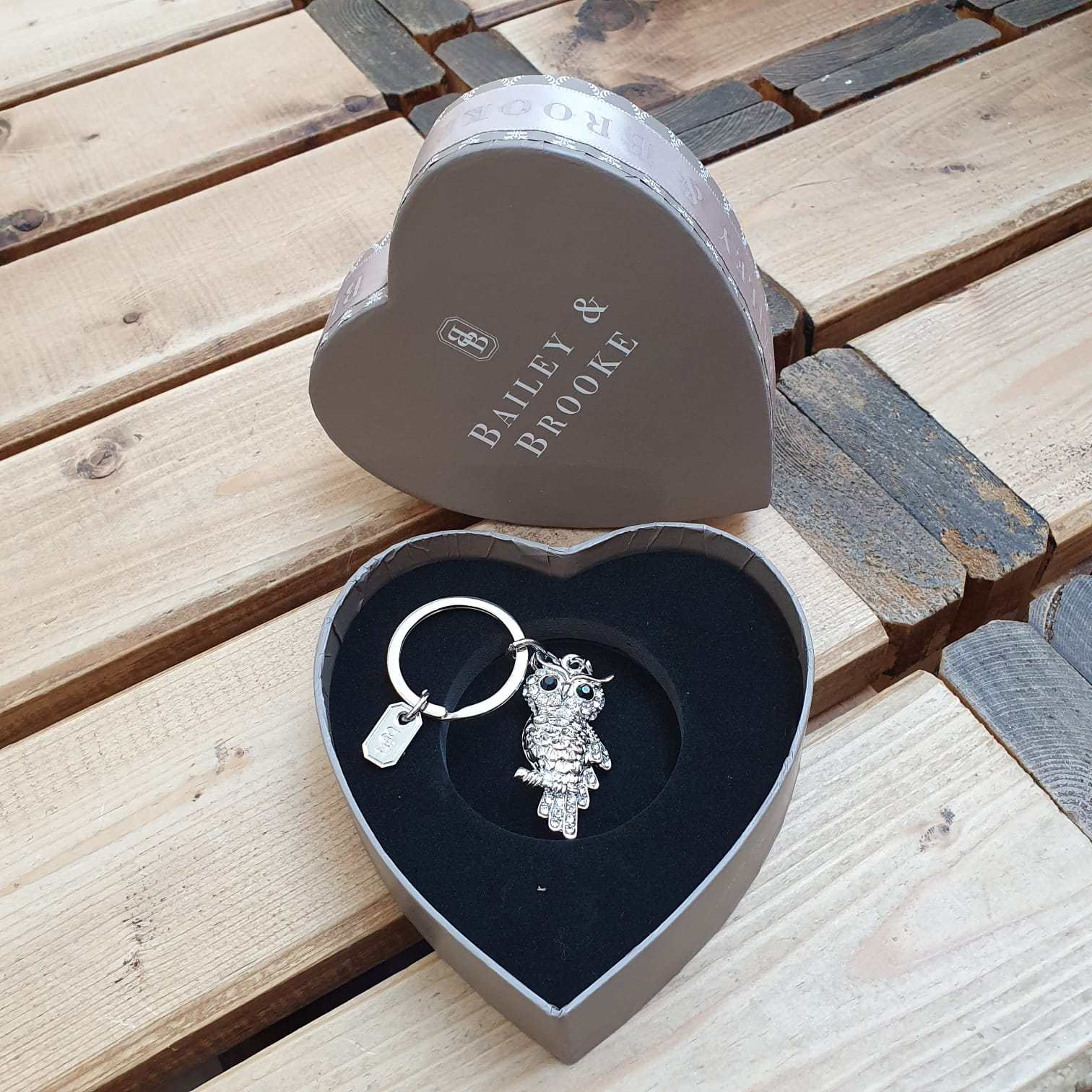 Sparkling owl Keyring by the lovely brand Bailey & Brooke.   Add some sparkle to your keys with a Luxury hanging keyring.  Beautifully presented in a Bailey & Brooke gift box. It will make a wonderful gift.
