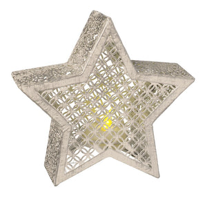 This beautiful LED cut out star candle decoration with its subtle glow, would be a lovely addition to your home this Christmas.   Material: Metal