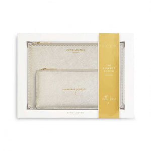 This stylish 'Champagne Please' set includes a plain champagne coloured Perfect Pouch and chic slim pouch with the golden handwritten sentiment 'Champagne please'.  The set comes presented in a gift box.
