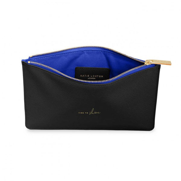 This eye catching Perfect Pouch from much loved brand Katie Loxton comes in a striking black colour with a royal blue lining and the added sentiment in gold, handwritten style 'Time to shine'.