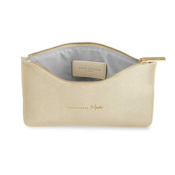 This eye catching Perfect Pouch from much loved brand Katie Loxton comes in a striking metallic gold colour with the added sentiment in gold, handwritten style 'Wonderful Mum'.  Features: Zip fastening