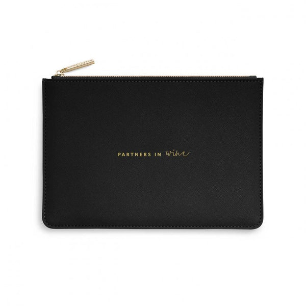 This eye catching Perfect Pouch from much loved brand Katie Loxton comes in a striking Black colour with the added sentiment in gold, handwritten style 'Partners In Wine'.  Features: Zip fastening