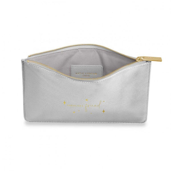 This eye catching Perfect Pouch from much loved brand Katie Loxton comes in a striking metallic silver colour with the added sentiment in gold, handwritten style 'Fabulous friend' with twinkling stardust patters.   Features: Zip fastening