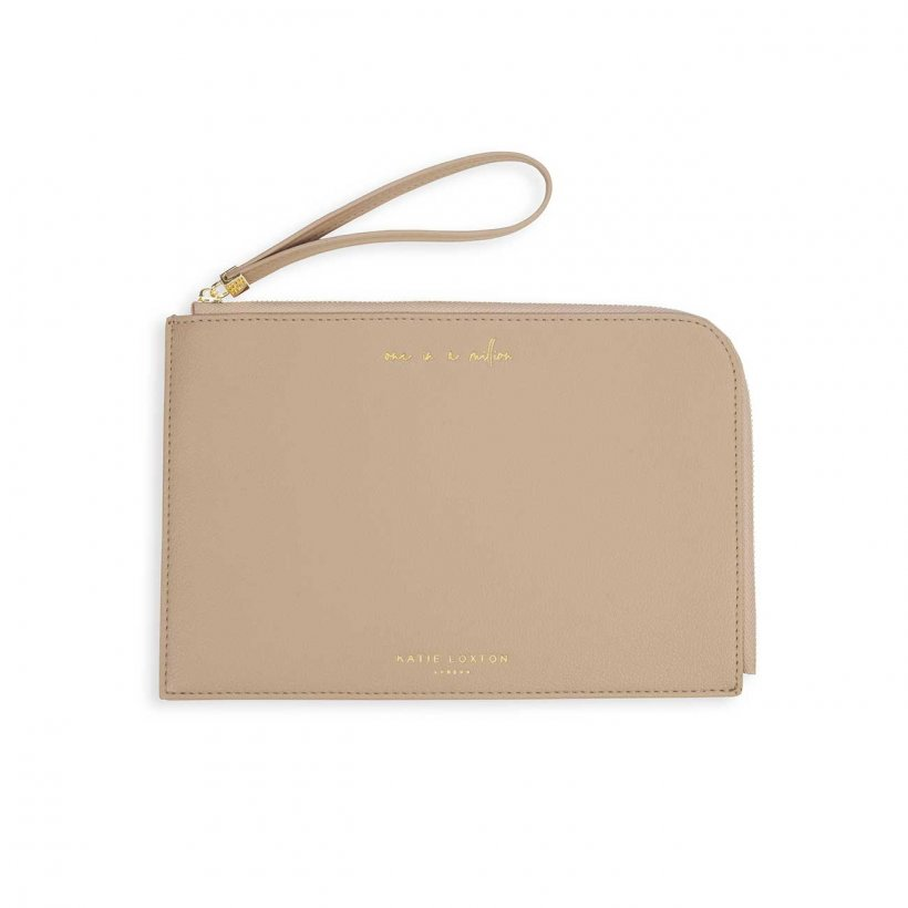 This eye catching Secret Message Pouch from much loved brand Katie Loxton comes in a beautiful taupe colour with the added sentiment in gold, handwritten style 'One In a Million' on the outside and secret message on the inside which reads 'Shine bright like the star you are'.