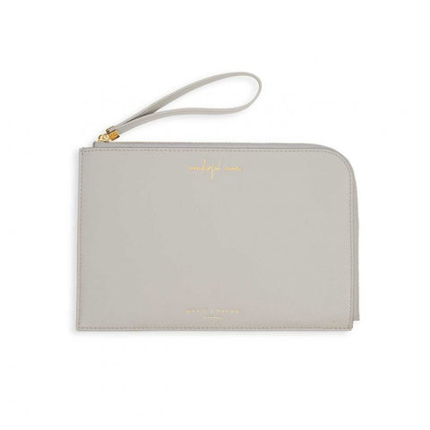 This eye catching Secret Message Pouch from much loved brand Katie Loxton comes in a stunning stone colour with the added sentiment in gold, handwritten style 'Wonderful Mum' on the outside and secret message on the inside which reads 'You're the best'.