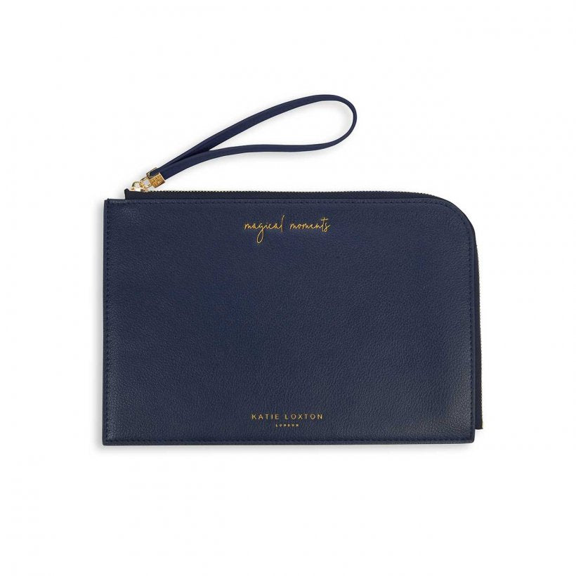 This pretty Secret Message Pouch from much loved brand Katie Loxton comes navy and has the sentiment 'magical moments' embossed in gold on the front and a hidden sentiment on the inside that reads 'make your own magic'.