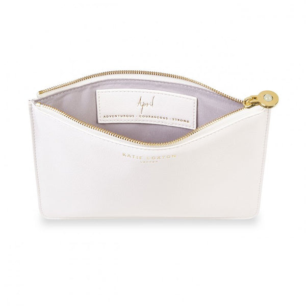 Katie Loxton - Birthstone Perfect Pouch - April - Rock Crystal