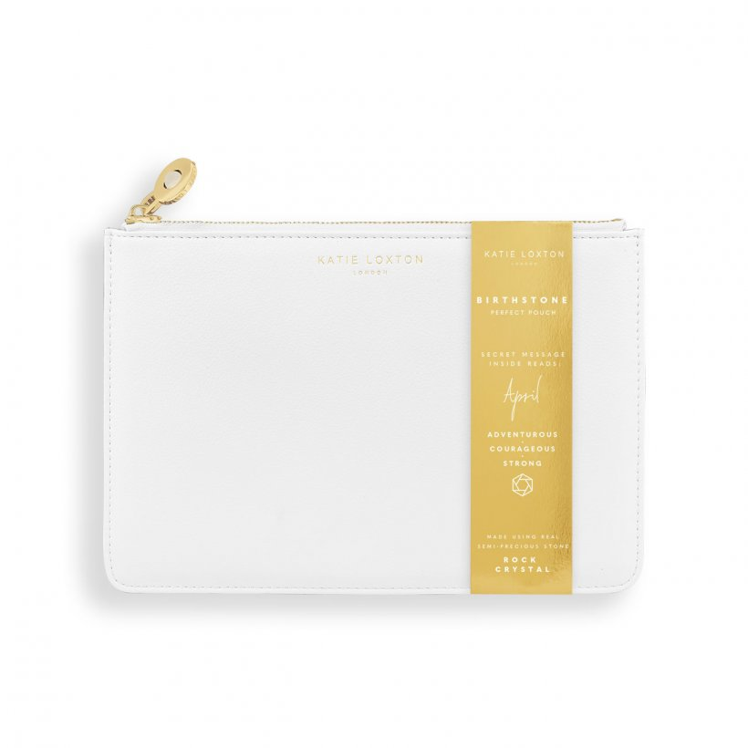 This eye catching Birthstone Perfect Pouch from much loved brand Katie Loxton comes in a soft white colour with the sentiment  - 'April - Adventurous -Courageous - Strong' engraved inside. Featuring a semi precious rock crystal birthstone on the zip, this pouch is a gift to treasure.