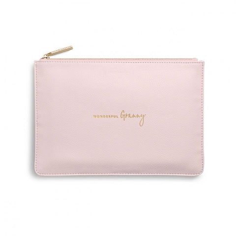 This Perfect Pouch from much loved brand Katie Loxton comes in a soft blush pink colour. On the front, engraved in a gold handwritten script, are the words 'Wonderful Granny'.  A perfect gift for you to say, you are a 'Wonderful Granny' in every way.