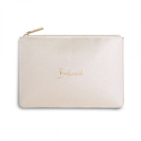 This eye catching Perfect Pouch from much loved brand Katie Loxton comes in a stunning pearlescent colour with the added sentiment in gold, handwritten style 'Bridesmaid'.