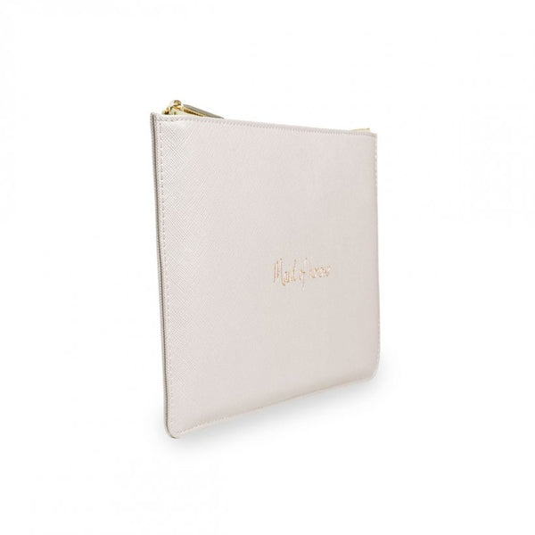 This eye catching Perfect Pouch from much loved brand Katie Loxton comes in a stunning pearlescent colour with the added sentiment in gold, handwritten style 'Maid of honour'.