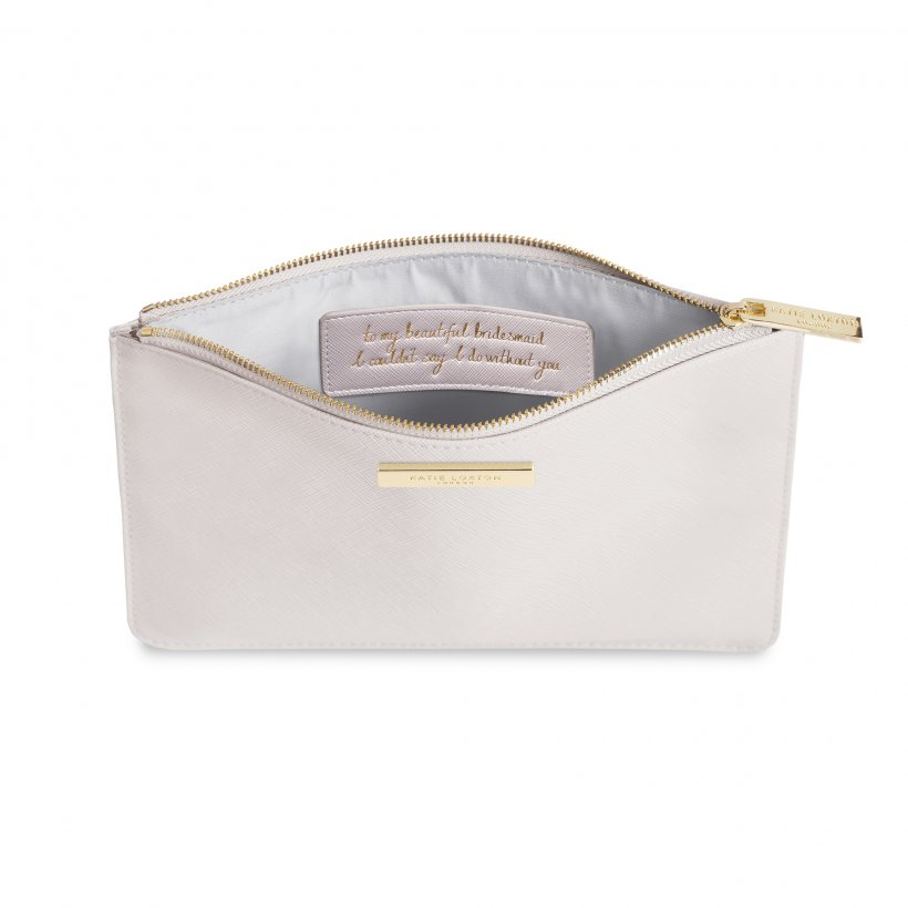 This eye catching Secret Message Pouch from much loved brand Katie Loxton comes in a stunning pearlescent colour with the added sentiment in gold, handwritten style 'To my beautiful bridesmaid, I couldn't say I do without you' hidden inside.