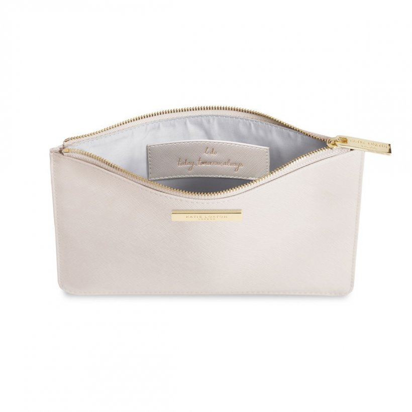 This eye catching Secret Message Pouch from much loved brand Katie Loxton comes in a stunning pearlescent colour with the added sentiment in gold, handwritten style 'I do, today tomorrow always' hidden inside.