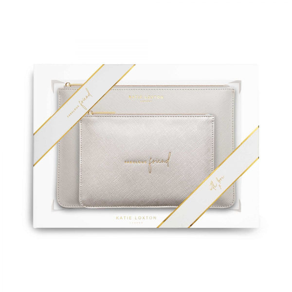 Katie Loxton - Perfect Pouch Gift Set - Fabulous Friend - Light Grey