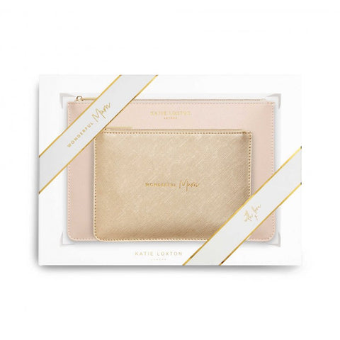This stylish pink 'Wonderful Mum' set includes a plain sand coloured Perfect Pouch and chic slim pouch in shimmering metallic gold with the golden handwritten sentiment 'Wonderful mum'.  The set comes presented in a gift box.