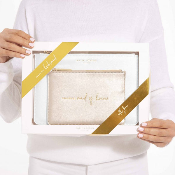 This stylish white set includes a metallic white coloured Perfect Pouch and pretty mini pouch with the handwritten sentiment 'Beautiful Maid of Honour' to make the perfect bridal party accessories.