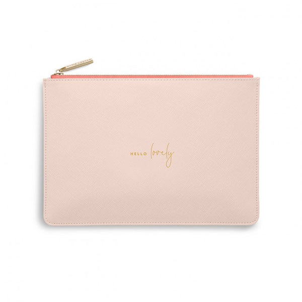 This eye catching Perfect Pouch from much loved brand Katie Loxton comes in a pretty pale pink colour with a striking coral lining and the added sentiment in gold, handwritten style 'Hello Lovely'.