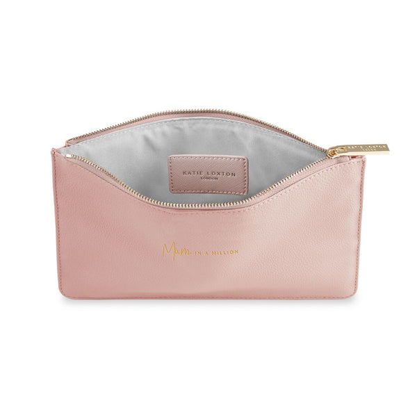 Katie Loxton Interior of Perfect pouch mum in a million pale pink