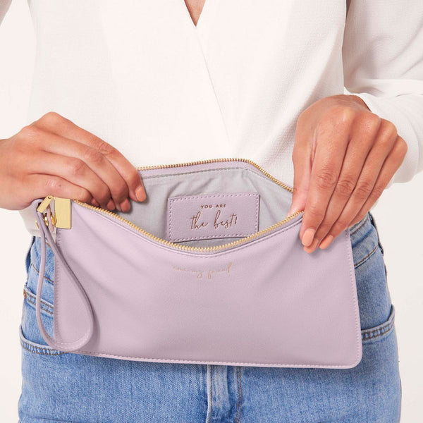 Katie Loxton Secret Message Pouch Lifestyle image showing interior of Amazing Friend You are the best pale lilac