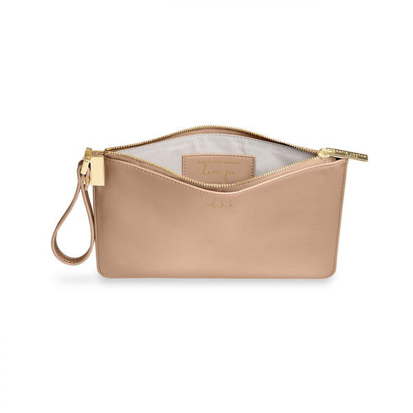 Interior of Katie loxton secret message pouch Ooh la la Taupe