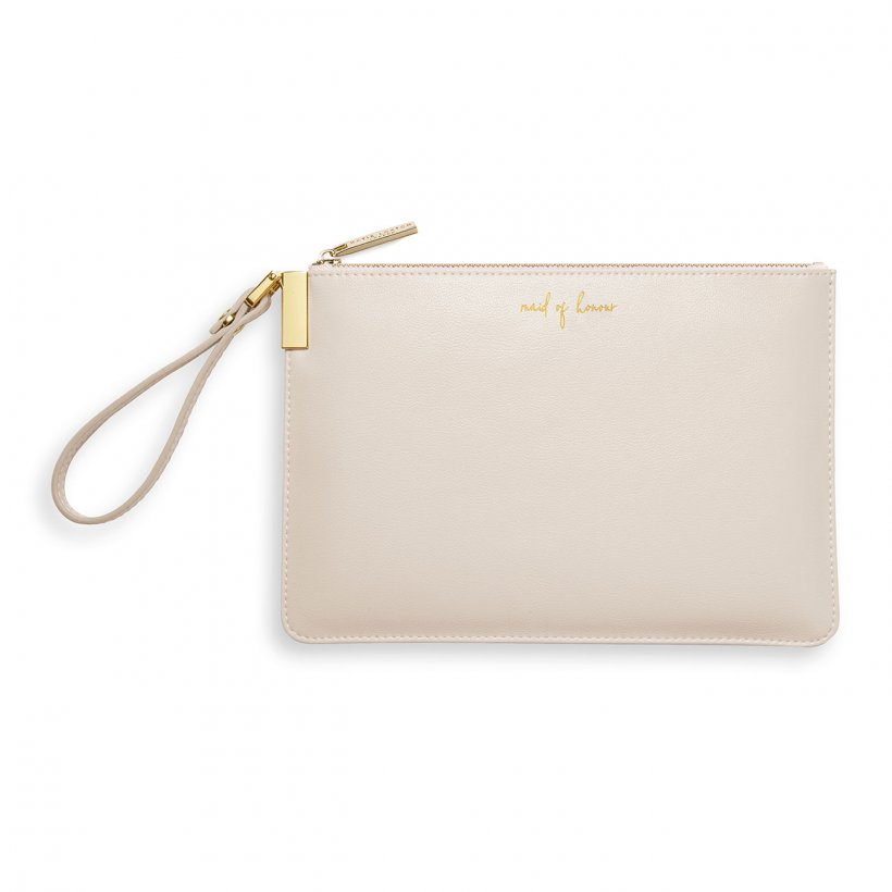This eye catching Secret Message Pouch from much loved brand Katie Loxton comes in a stunning white colour with the words 'Maid of honour' and the added sentiment in gold, handwritten style 'Thank you for helping us tie the knot' hidden inside.
