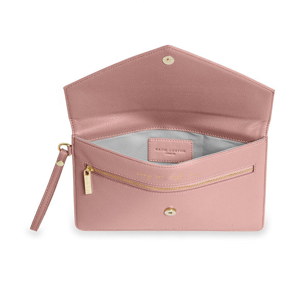 Interior of Katie Loxton Esme Envelope Clutch Pink