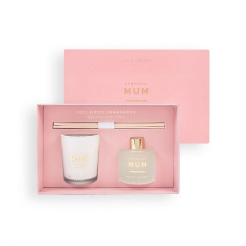 Beautiful pink candle and ree4d diffuser gift set by much loved brand Katie Loxton. The 'Wonderful Mum' set includes a mini candle and mini reed diffuser with beautiful sentiment and fragrance.   This set comes beautifully gift boxed.   Burn Time Candle - approx 25 - 30 hours  Reed diffuser - lasts upto 6 months