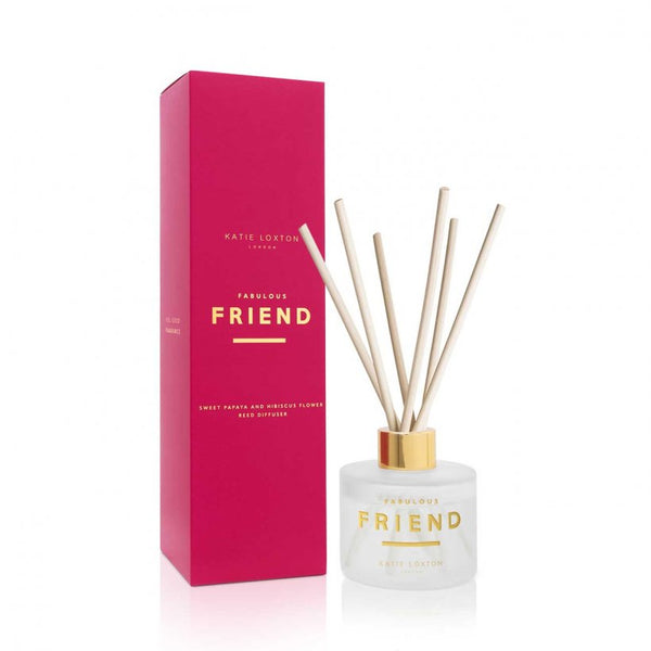 Luxe reed diffuser gift set by much loved brand Katie Loxton. The 'Fabulous Friend' diffuser has been beautifully designed in a lovely white and gold bottle with  delicate and beautiful scents.   This set comes beautifully gift boxed.