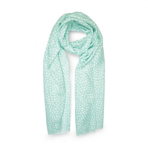 This pretty Katie Loxton scarf featuring a mint green and white mosaic print will add a little style to your day. The scarf comes wrapped in tissue and presented in a classic Katie Loxton gift bag with tag. The perfect gift, wrapped and ready to go.