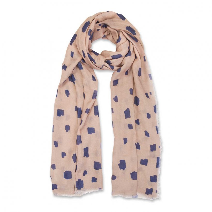 This beautifully soft herringbone material which is scattered with a lovely abstract pattern. The printed scarf features an all over block print in a chic navy and caramel colour.