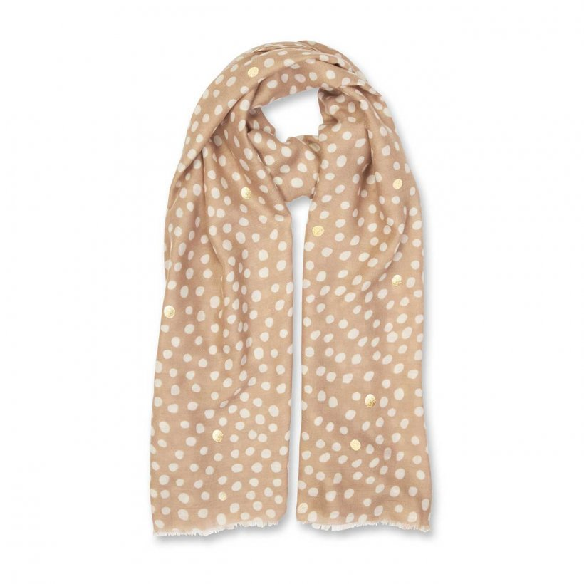 This beautifully soft herringbone material which is scattered with a lovely spot pattern. The printed scarf features an all over dalmation block print in a chic caramel colour.