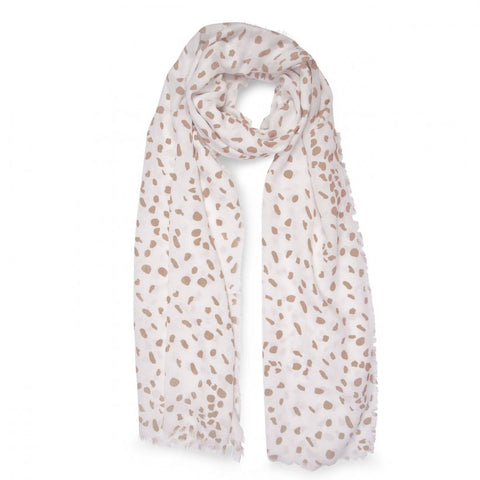 This beautiful white and taupe leopard print scarf with soft frayed edges is a timeless all rounder. The neutral colours are a perfect match for any outfit.