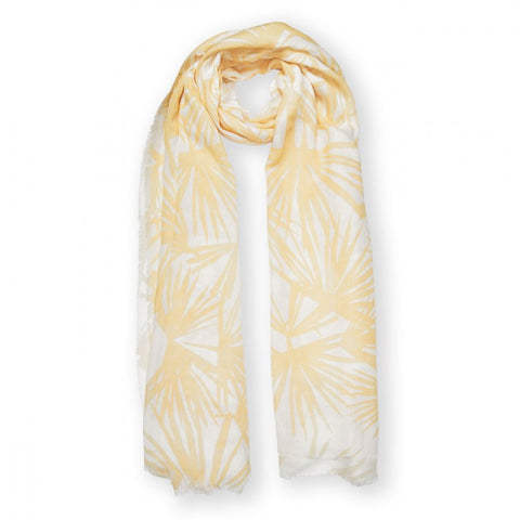 This pretty Katie Loxton scarf featuring a white and yellow tropical leaf print will add a little sunshine and style to your day. The scarf comes wrapped in tissue and presented in a classic Katie Loxton gift bag with tag. The perfect gift, wrapped and ready to go.