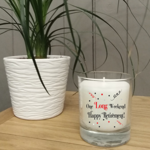 This gorgeous scented jar candle features the words 'One Long Weekend Happy Retirement' It comes in its own gift box and is a perfect gift for that lucky person who is about to retire.
