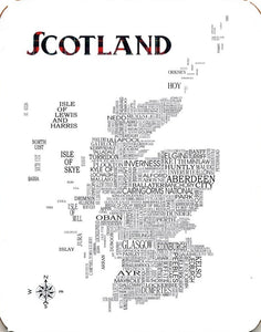 Coaster featuring typographical map of Scotland detailing cities, towns, villages and more.
