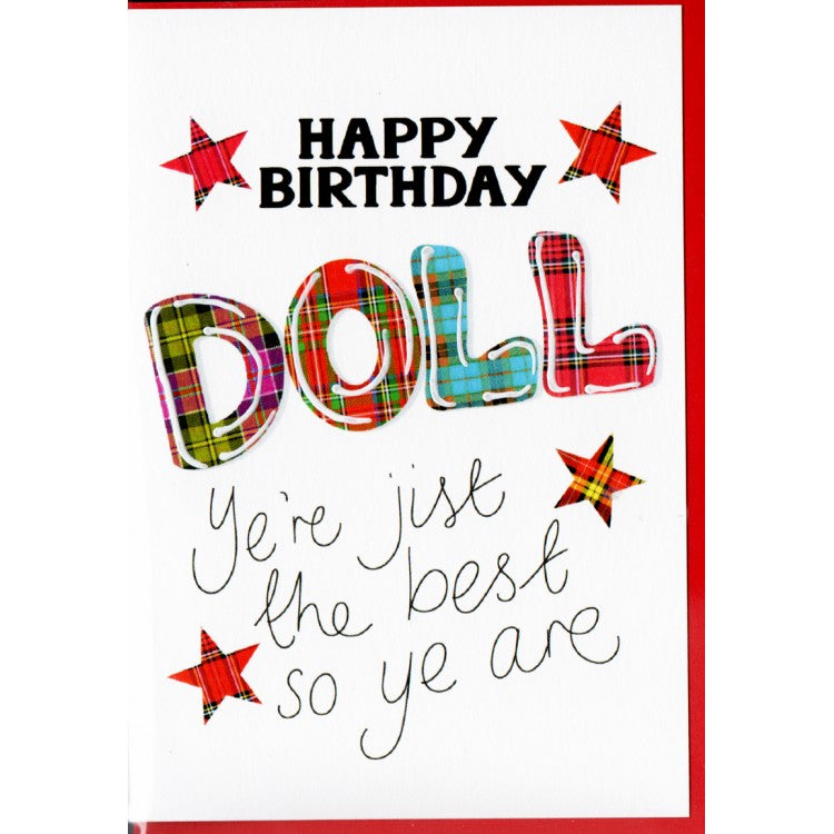 Scottish Slang Birthday Card with a touch of tartan - Happy Birthday Doll