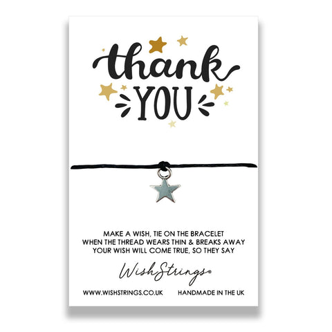 Wishstring 'wish' bracelet featuring Tibetan Silver star charm hand strung on quality waxed cotton cord.    This Wishstring is presented on a display card simply reading:  'Thank You'