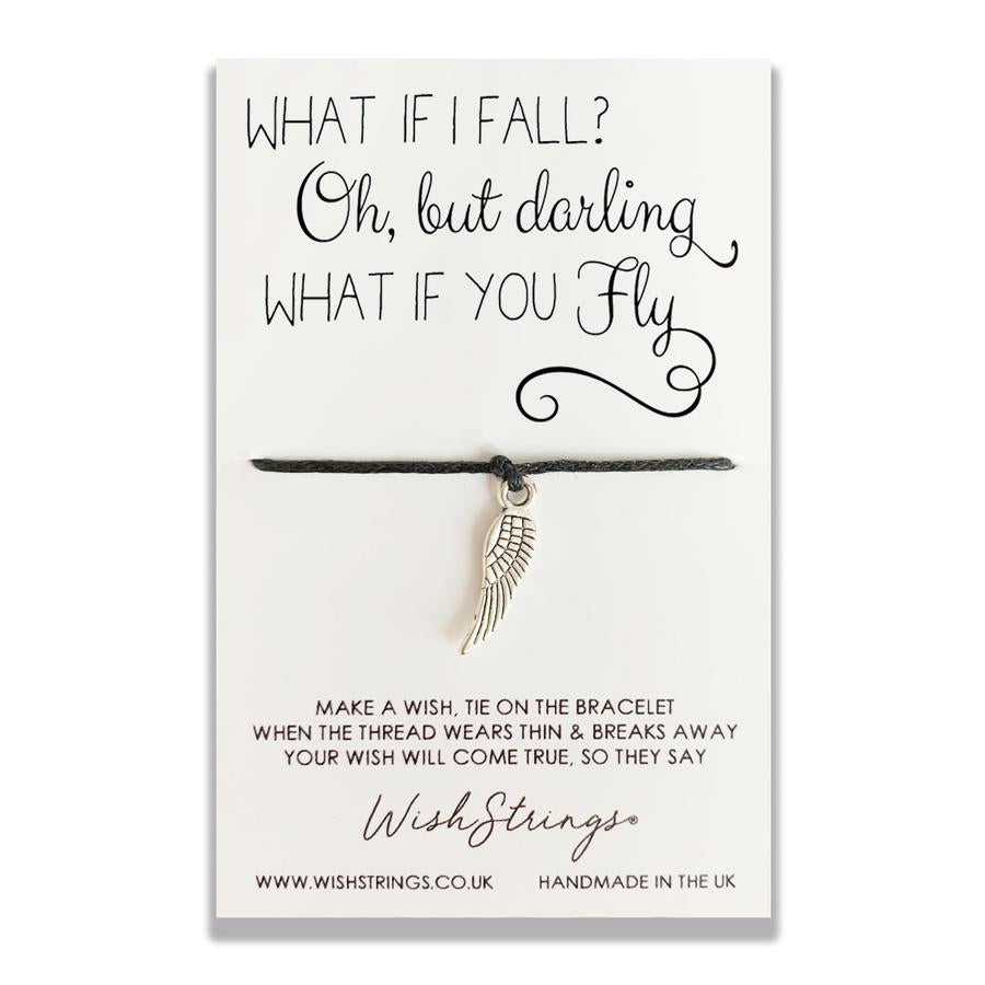 Wishstring 'wish' bracelet featuring Tibetan Silver feather charm hand strung on quality waxed cotton cord.    This Wishstring is presented on a display card with the sentiment:  'What if I fall? .... Oh but darling, what if you fly?'