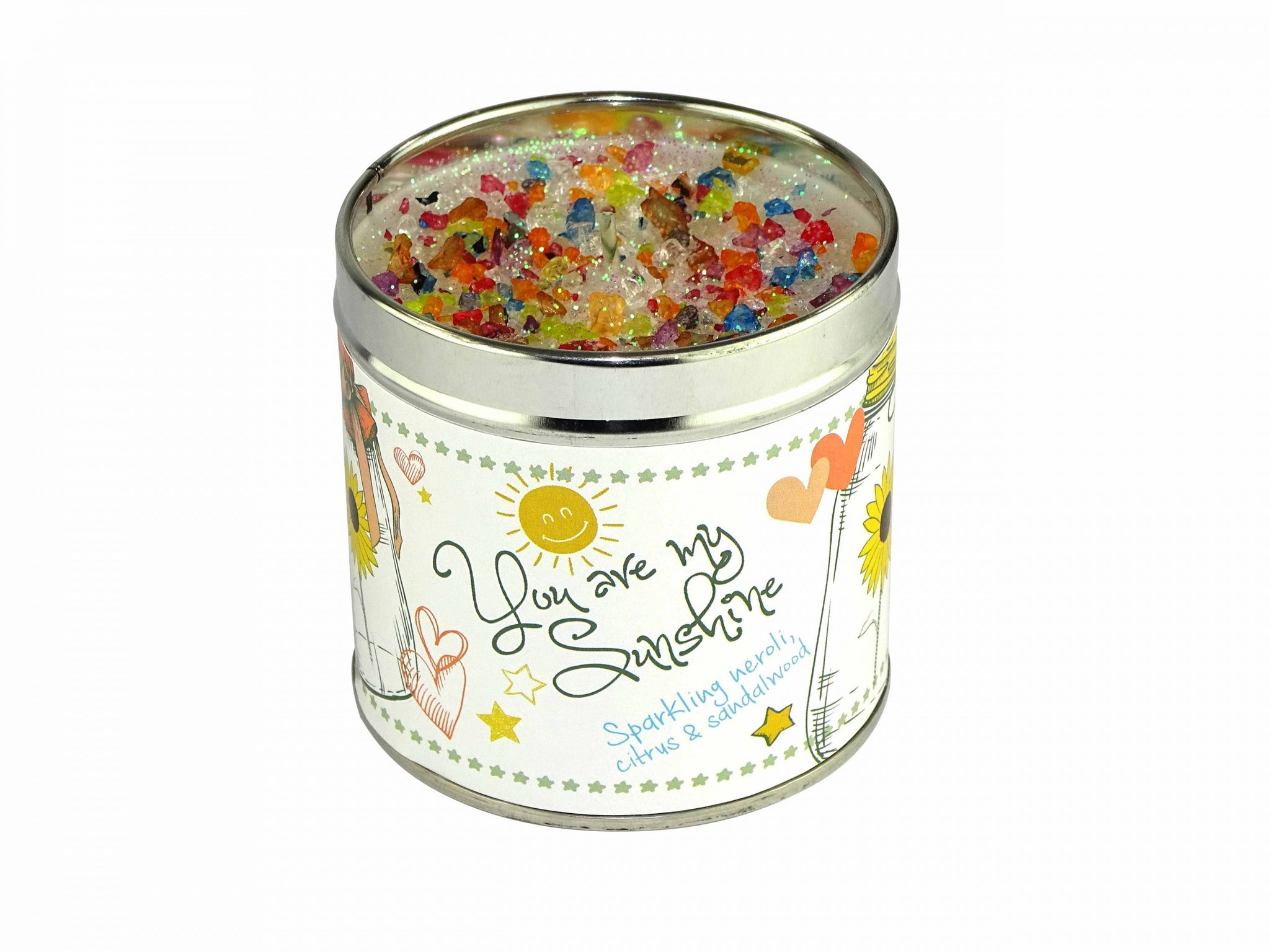 Gorgeous hand finished, scented candle with added sparkle from Best Kept Secret's Seriously Scented Occasion range.  Each candle has it's own sentiment.  The tin reads 'You Are My Sunshine'