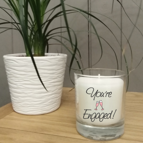 This lovely scented jar engagement candle comes in its own gift box and is a perfect gift for that special announcement.