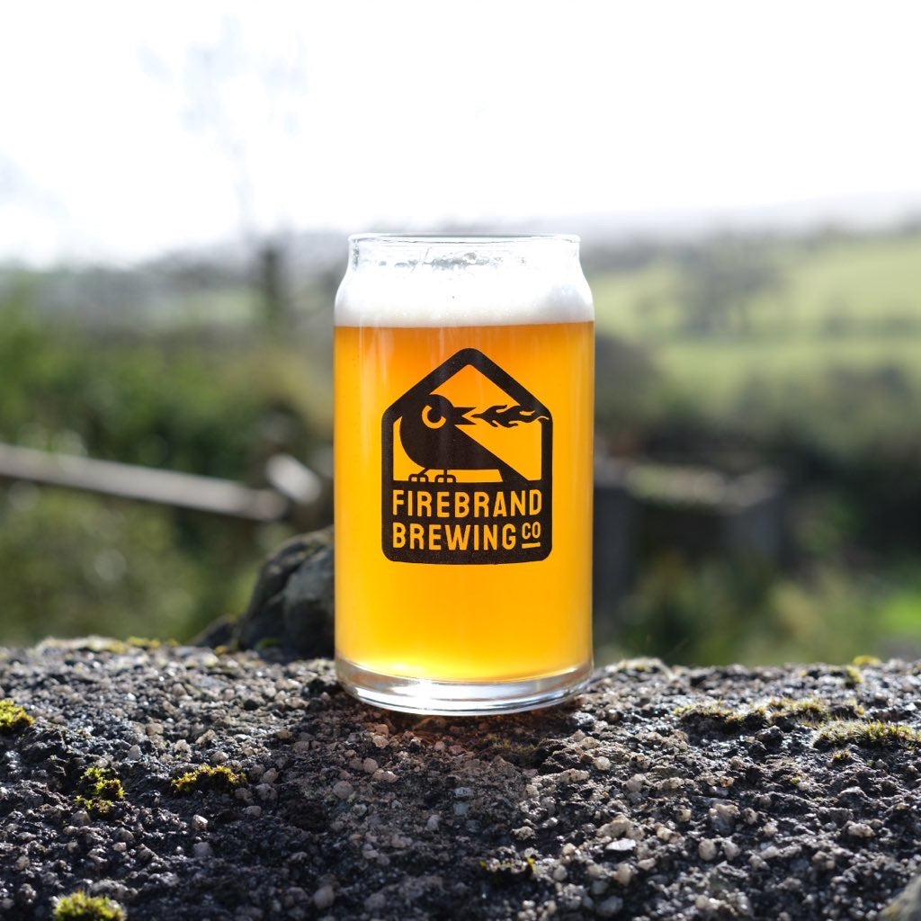 Can Shaped Half Pint Firebrand Brewing Co Branded Glass