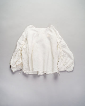 13201 01207 gasa japan linen boatneck blouse drawstring drawcord coat top off-white gathered shirred noodle stories
