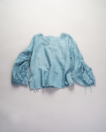 13201 01207 gasa japan linen boatneck blouse drawstring drawcord coat top sky blue gathered shirred noodle stories