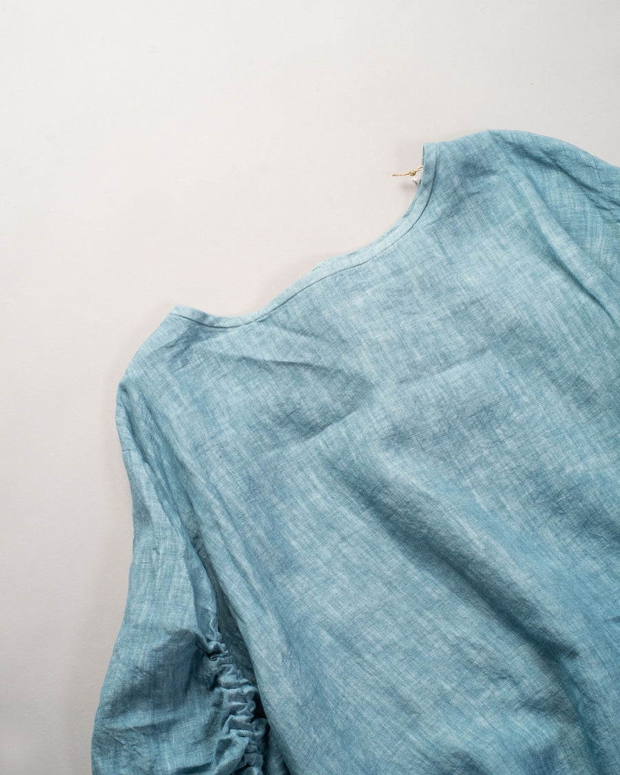 13201 01207 gasa japan linen boatneck blouse drawstring drawcord coat top sky blue gathered shirred noodle stories 13201 01207 gasa japan linen boatneck blouse drawstring drawcord coat top sky blue gathered shirred noodle stories