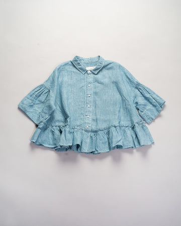 13201 06107 gasa japan linen gathered hem blouse peplum button front women's sky blue shirred noodle stories