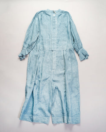 13201 06327  women's gasa japan linen button jumpsuit button gathered pleated pleats sky blue combinaison noodle stories