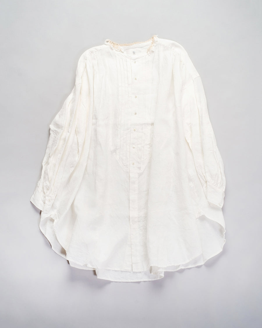 13201 06607 women's gasa japan linen crochet lace trimmed tunic pin tuck tuxedo off white lace collar long shirt noodle stories